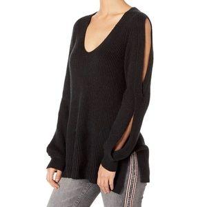 1.State Cold Shoulder Twist V-Neck Sweater